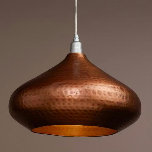 Bronze with Antique finish hammerred pendant