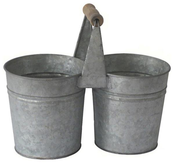 Galvanized two bucket set