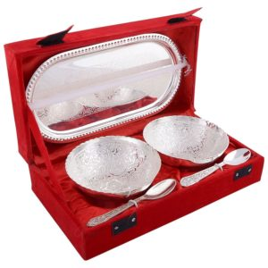Serving set in silver plating