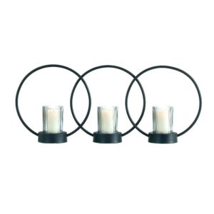Candle holder with iron rings